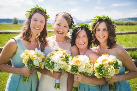 colorado-wedding-photographer, denver-weddding-photography, wedding-photographs, wyoming-wedding, bridesmaids, bride-and-bridesmaids, green-yellow-flowers-wedding