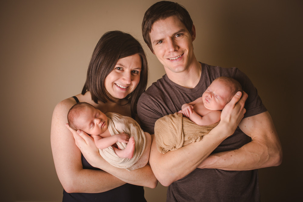 parents-of-twins, denver-newborn-photography, family-of-four, studio-portrait-photographer-denver